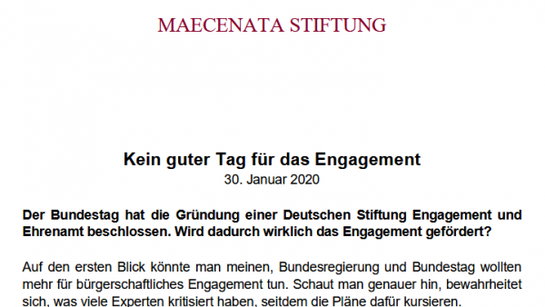 """In die falsche Richtung! Kritik an der geplanten """"Deutschen Stiftung für Engagement und Ehrenamt"""""""