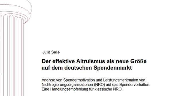 Der effektive Altruismus als neue Größe auf dem deutschen Spendenmarkt