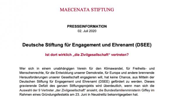 """PRESSEINFO: Deutsche Stiftung für Engagement und Ehrenamt (DSEE) – Ist dort wirklich """"die Zivilgesellschaft"""" vertreten?"""