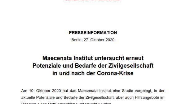 PRESSEINFO: Maecenata Institut untersucht erneut Potenziale und Bedarfe der Zivilgesellschaft in und nach der Corona-Krise