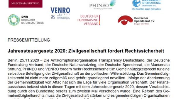 PRESSEINFO: Jahressteuergesetz 2020: Zivilgesellschaft fordert Rechtssicherheit