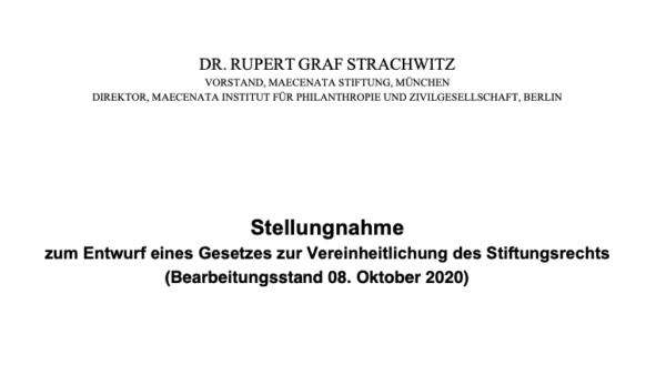 Stellungnahme zum Entwurf eines Gesetzes zur Vereinheitlichung des Stiftungsrechts