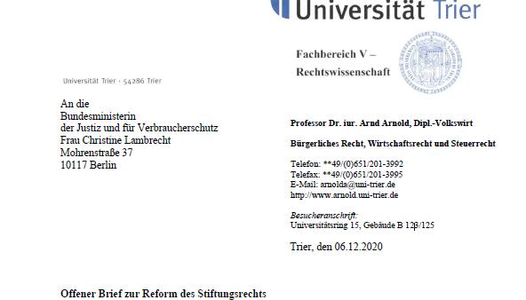Reform des Stiftungsrechts – Wissenschaftler richten offenen Brief an Ministerin Lambrecht