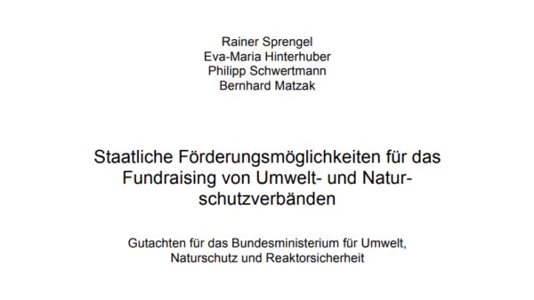 Staatliche Förderungsmöglichkeiten für das Fundraising von Umwelt- und Naturschutzverbänden
