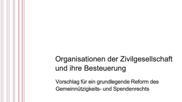 Organisationen der Zivilgesellschaft und ihre Besteuerung