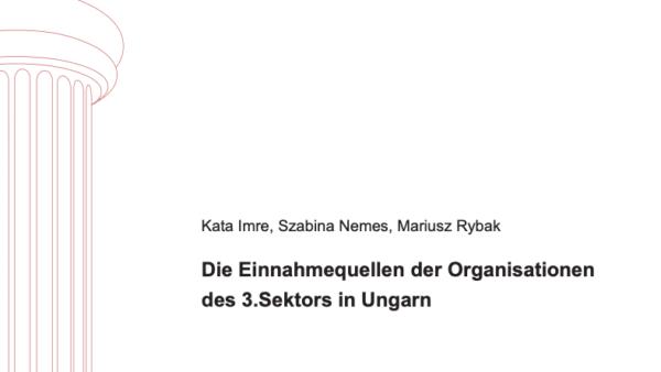 Die Einnahmequellen der Organisationen des 3.Sektors in Ungarn