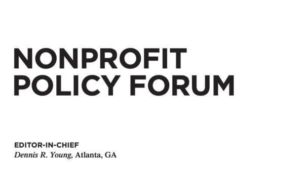 New article in the current issue of Nonprofit Policy Forum: A Patchwork Quilt of Programs