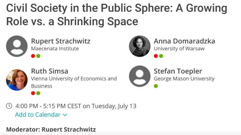 Civil Society in the Public Sphere: A Growing Role vs. a Shrinking Space