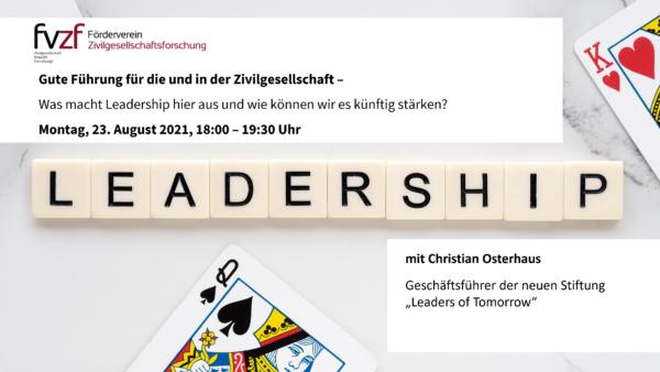 Veranstaltungstipp: Gute Führung in der Zivilgesellschaft
